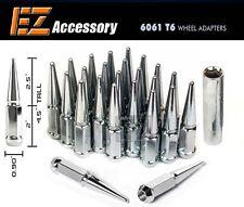24 Pc Solid Steel Spike Lug Nuts Kit | Chrome | 14x1.5 | Chevy GMC | with Key