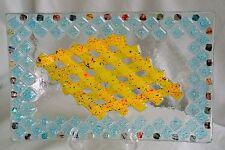 "Fused Art Glass 10.75"" Convex Oblong Dish/Tray-Geometric Upraised Design-Vivid"
