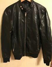 Zara Man Men's Bomber Motorcycle Full Zip Jacket Faux Leather Black Size SMALL