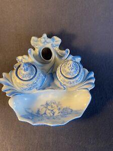 """Antique Porcelain Double Inkwell Possibly Dresden? Blue White Cherubs 6""""x3"""""""