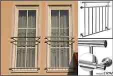 Französischer Balkon LYON Edelstahl 128x90cm Geländer Stabgeländer Gebürstet NEU