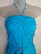Juicy Couture NWT M Swim Suit Coverup Dress Belted Bright Turquoise Halter Beach