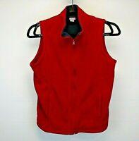 Laura Scott Women's L Sleeveless Sweatshirt Vest Red Fleece Full Zip