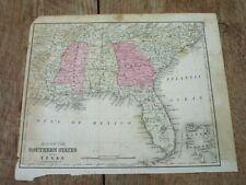 1876 Map ~ Southern States ~ Fl, Nc, Sc, Ga, Al, Ms, La, Tn, Ar ~ Cowperthwait