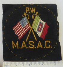 Original Ww1 Vintage Italian - American Patch with Crossed Us & Italy Flags