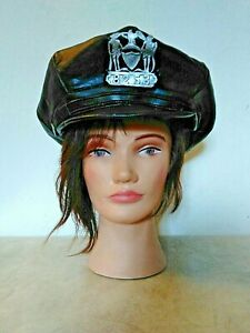 Limo Driver Chauffeur Leather Hat Black Baker Boy Shield Halloween Costume