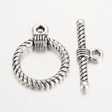 10 Round Rope Antique Silver Toggle Sets Clasps Jewellery Bracelet Making (035)