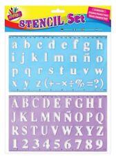 2 x Large Lettering Stencil Set Upper Lower Case Alphabet Number Stencils Kids