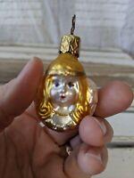 Inge Glas Mini Angel Cherub Bust Blonde Blown Glass Old World Xmas Ornament RARE