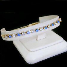 "14K GOLD GL Sapphire BLUE 3mm AUSTRIAN CRYSTAL 11"" Ladies Anklet 