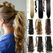 Womens synthetic wrap ponytail straight hair extensions ebay uk 100 real as human make clip in hair extension pony tail wrap around ponytail pmusecretfo Choice Image