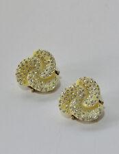 Signed Oscar de la Renta Haute Couture Crystal white Rose Statement Earrings