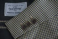 Brioni Light Brown Dark Teal/Blue Houndstooth 100% Silk Sport Coat Jacket Sz 42