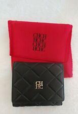 Carolina Herrera Women's Wallet Tri Fold Leather Small Black