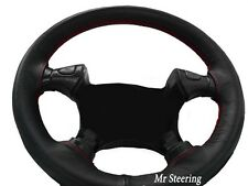 FOR TOYOTA PRIUS MK2 03-09 REAL BLACK LEATHER STEERING WHEEL COVER RED STITCHING