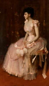 William Merritt Chase Portrait of a Lady in Pink Poster Giclee Canvas Print