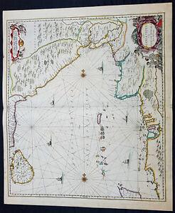 1650 Jan Jansson Large Rare Antique Map of India, Sri Lanka & The Bay of Bengal