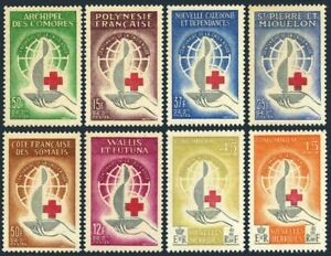 French Common design Red Cross centenary,1963,MNH collection of 8 stamps.