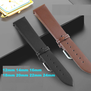 Mens womens Leather Strap Watch Band 12mm 14mm 16mm 18mm 20mm 22mm 24mm Genuine