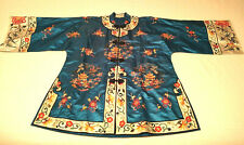 VINTAGE 20th c CHINESE EMBROIDERED SILK WOMEN JACKET ROBE EMBROIDERY