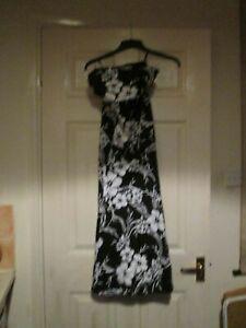 Wallis evening dress UK 10 black & white floral ladies party reception bandeau S