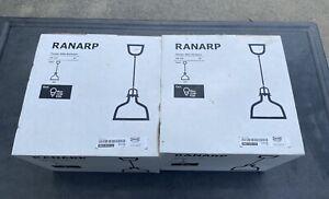 "Lot of 2 NEW Ikea Ranarp 9"" 23cm Pendant Metal Hanging Lamp White 002.313.12"