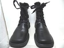 ELLE Faux Fur EU 39 Black Leather Size Zip/Lace Up Warm Boots Square Heel Toe