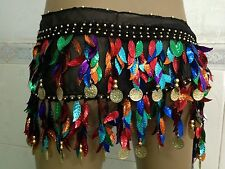 Belly dance Hip Scarf waistband belt skirt with mixed colors leaves &Gold coins