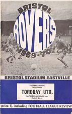 Football Programme - Bristol Rovers v Torquay Utd - Div 3 - 24/1/70