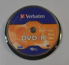 10 DVD -R  100 % Vergini Originali Verbatim 4.70 G.B 16X 120 Min