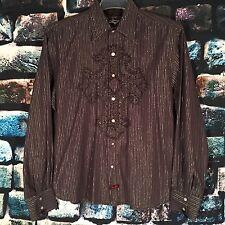 Mens FENDER Rock & Roll Religion XL Snap Gray Silver Striped Shirt