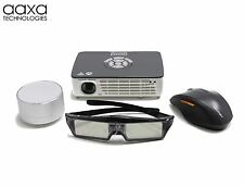 AAXA P450 Pro HD 3D Projector, WIFI/BT, 500 Lumen, BT & 3D Glasses Bundle