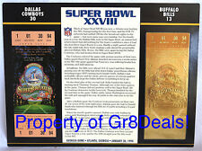 SUPER BOWL 28 ~ COWBOYS / BILLS ~ NFL 22 KT GOLD SB XXVII TICKET Willabee & Ward