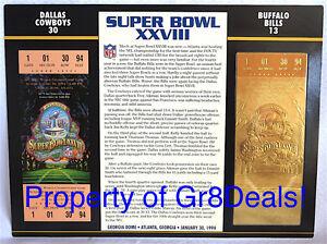 SUPER BOWL 28 ~ COWBOYS / BILLS ~ NFL 22 KT GOLD SB XXVII TICKET Willabee & Ward