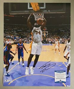 Shaquille O'Neal Signed 16x20 Photo Autographed Beckett BAS COA Lakers HOF