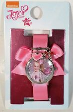 Nickelodeon Jojo Siwa Girls Pink Ribbon Button On Watch Sparkles & Charms