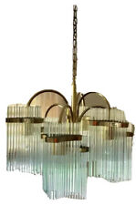 Gaetano Sciolari 7 Light Glass Rod Chandelier Brass Lightolier Mid Century