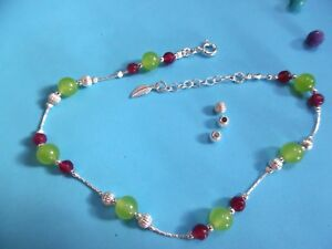 AN007 925 Sterling Silver chain Anklet Handmade Unique singular ladies Gems Gift