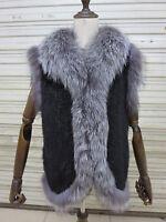 Real Mink Fur silver fox Vest knitted Women Cape Coat jacket  Black