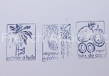 3 ancien tampon bois scolaire palmier huile noix coco regime frui 5*4 cm AA018