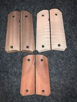 (3) Pairs Unfinished Full Size Colt 1911 grips Walnut Mahogany & Curly Maple