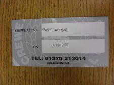04/11/2006 Ticket: Crewe Alexandra v Port Vale [Hand Written Ticket On Large Car