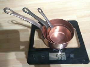 Vintage set of 3 mini French Copper Pans with Cast Iron Handles.