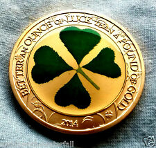 LUCKY Gold Coin Clover Leaf Good Luck Exams Driving Test Gambling Win Casino USA