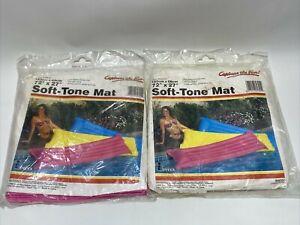 Lot of 2 VTG 1987 Intex Pool Float Soft Tone Mat Pink 72x27 Vinyl Double Valves