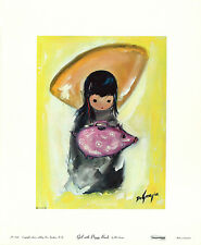 TED DeGRAZIA Vtg Rare OOP 1967 Collograph Southwest GIRL WITH PIGGY BANK, AA Inc