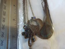 PEACOCK FEATHER NECKLACE AND EARINGS SET