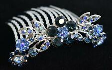 Blue Rhinestone Flower Hair Comb 2-Pack
