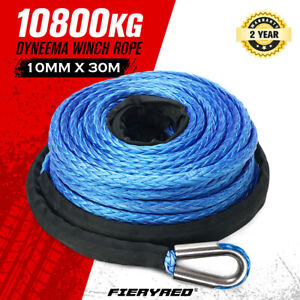 10MM X 30M Synthetic Winch Rope Dyneema Sk75 Tow Recovery Cable 4WD Car Blue