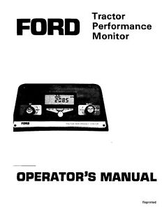 NEW HOLLAND Ford SE4083A Tractor Performance Monitor 1984-1986 OPERATORS MANUAL